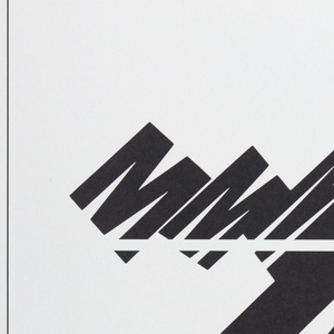 Poster features letter 'M' in varied typographic formats.