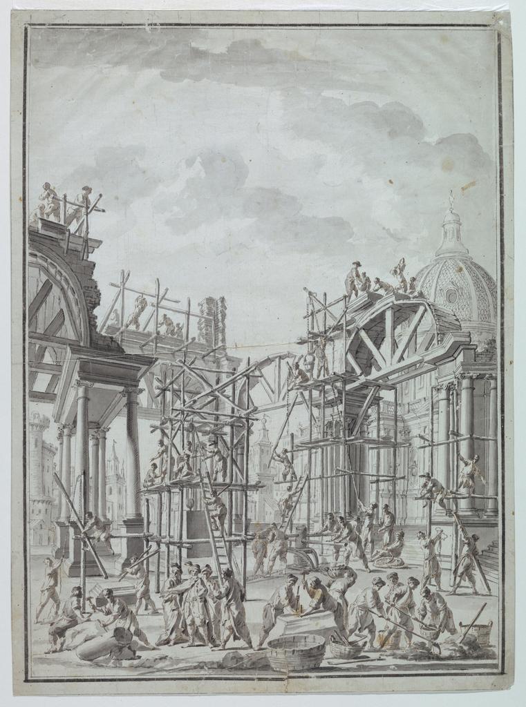 Drawing, Workmen building arcades