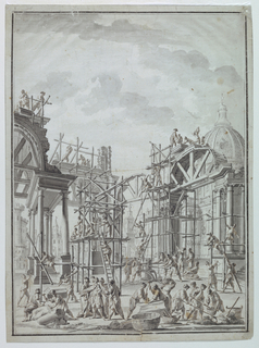 Workmen constructing arcades, possibly for a theater set. Workmen on scaffolding around arcades are occupied with masonry, sculpturing and the pulling up of a huge stone with a winch. Domes building in background. Some figures are in Turkish dress.