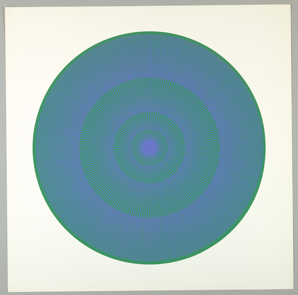 Four graduating concentric circles of radial lines like spokes of a wheel; green background overprinted in lavender-blue on white ground.