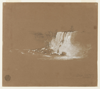 A view of the eastern end of the Horseshoe Falls with the tower is shown at the center of the sheet. The falls crash dramatically downward onto rocks below.