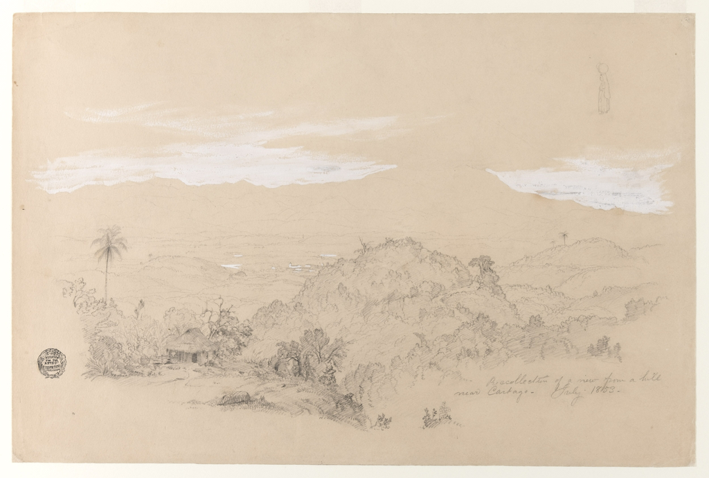 Horizontal view over hills in the foreground, a valley with a town in the middle distance, looking towards mountain ranges in the rear with clouds. A house is shown in the left foreground.  Sketch  at top right: A woman with a jar upon her head, shown in profile, turned toward left.