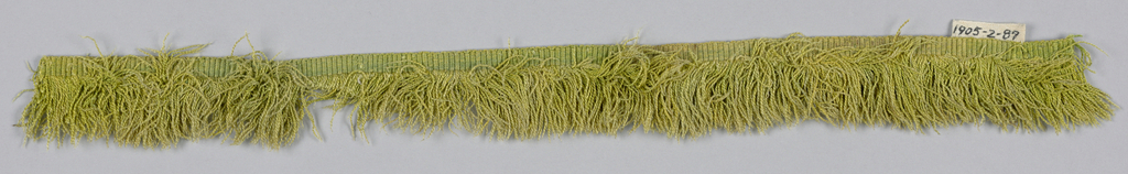 Light green fringe with a plain-woven heading and a skirt of light green threads.