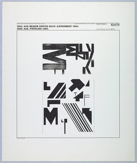 Text at top, above a thin black square border, with a design within. Typographic elements compose a abstract geometric pattern. Letters recognizable include M, N, L, T, F, combined with lines and letter fragments.