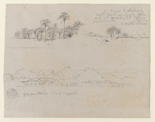 Horizontal view of palms standing on a high river bank, shown from below is at top row, left; a river bank with an indentation, behind which a group of palms is seen, with a mountain visible in the right background and  with trees in the left background, are at right; and a mountain panorama rising behind a river bank is seen at bottom.