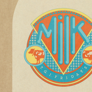"""Image of milk bottle with text, using milk metaphor for manager recreuitment message. On a tan background, a beige milk bottle stands on a checker pattern in turquoise and mustard yellow. Bottle cap with the same checker pattern and orange. At center, a circular """"label"""" on milk bottle reads: Milk. An orange cow is in two parts. Below: T. G. I. F R I D A Y' S. In turquoise at the top of the bottle: The cream always rises to the top, as the old / saying goes. Now we're looking for the / crème de la crème – the best of the best - / among us. Because we need more good / managers with the ability it takes to / effectively motivate and supervise people. / We know we can skim off that kind of talent / right here in house – and not just among our / department heads. After all each and every / one of you are responsible for our phenomenally / successful operation. And it's a fact that over 70% / of Friday's managers were once hourly employees. / So if you're the kind of person who can really deliver, / think about becoming a Friday's manager. Because / although we're filled with the very best, there's still a little / room at the top. / Talk to your General Manager or call the Personnel Office in Dallas, / (214) 233-2900, for details."""