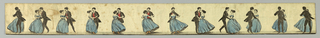Strip with printed cartoon featuring a man and woman dancing in elegant costume. When viewed in a circular, perforated tin zoetrope, illusion of animation creates a moving picture of twirling dancers.