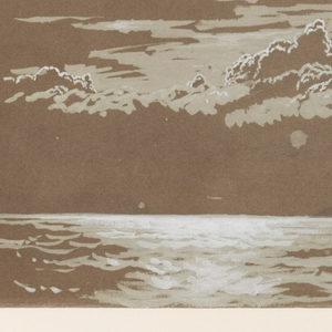 Seascape drawing; a cape and an iceberg rise from the sea in the middle distance. Cloudy sky. Caption and date, bottom right. The date is repeated twice more.