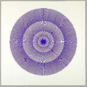 Four graduating concentric circles of radial lines like spokes of a wheel; blue printed on white ground.