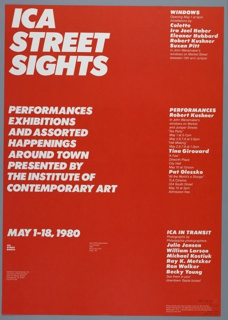 Poster, ICA Street Sights, Performances, Exhibitions
