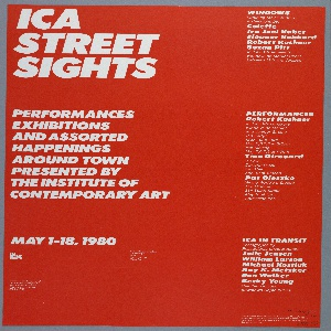 Poster with two heeled feet at upper left and right corners. Large yellow stripe runs vertically along center. Center, crumpled white paper. Imprinted in black ink, upper center: STREET/SIGHTS; in yellow ink, lower left: ICA/STREET/ SIGHTS; in white ink, lower right: PERFORMANCES/ EXHIBITIONS/ AND ASSORTED HAPPENINGS/ AROUND TOWN/ PRESENTED BY/ THE INSTITUTE OF CONTEMPORARY ART/ MAY 1-18, 1980; imprinted in right marign: DESIGN: PENTAGRAM.  Imprinted on verso : ICA/ STREET/ SIGHTS/ PERFORMANCES/ EXHIBITIONS/ AND ASOORTED HAPPENINGS/ AROUND TOWN/ PRESENTED BY/ THE INSTITUTE OF CONTEMPORARY ART/ MAY 1-18, 1980; lower left mailing information imprinted; upper right: WINDOWS...(10 lines); center right: PERFORMANCES...(20 lines-featuring Robert Kushner, Tina Girouard, Pat Oleszko); at LR: ICA IN TRANSIT...(10 lines); lower right corner: funding information.