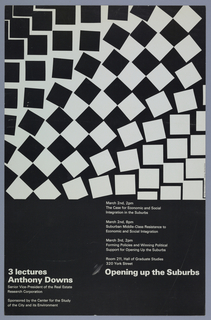 Upper 2/3 of surface composed of fanned out black squares on white and white squares on black. Lower third white text on black background with information on upcoming lectures.