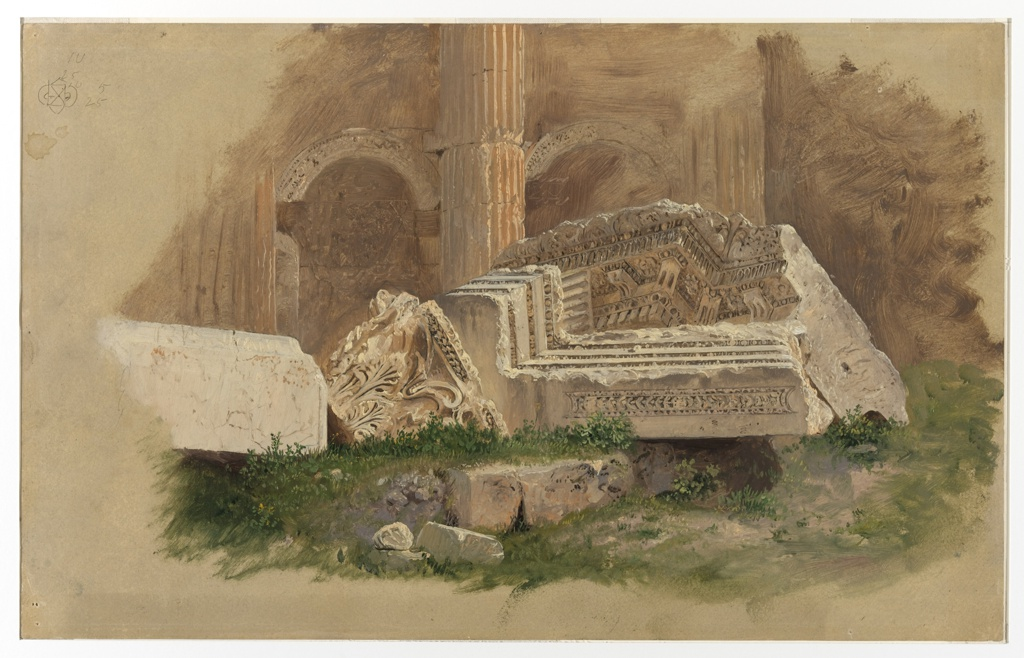 Drawing, Interior of the Temple of Bacchus, Baalbek
