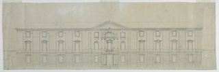 Elevation view of a villa. Three stories of eleven bays, the ground floor rusticated. A loggia before the second and the third (a mansard) stories. Triangular pediment. Villa flanked by partially shown stable buildings.