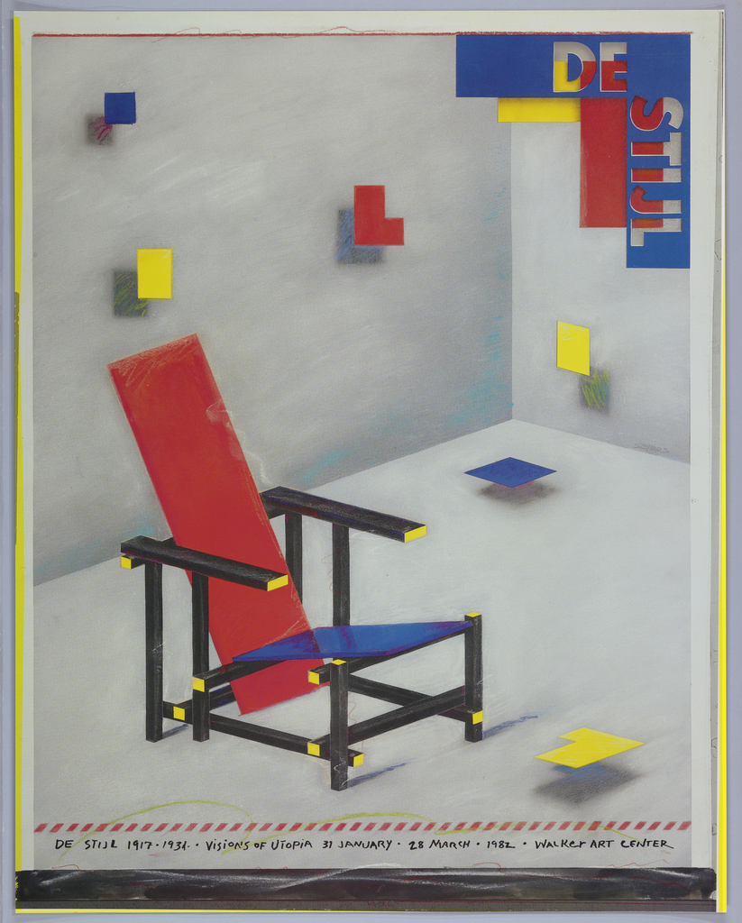 Poster depicting Gerrit Rietveld's Red and Blue Chair (ca. 1923) in a white space with floating red, blue, and yellow squares and L-shapes. Upper right, a red rectangle and yellow square superimposed by a blue stencil reading: DE STIJL. Below, beneath line of red stripes, in black: DE STIJL 1917-1934 . ViSiONS OF UTOPiA 31 JANUARY . 28 MARCH . 1982 . WALKER ART CENTER. Lower border in chalkboard-like effect.