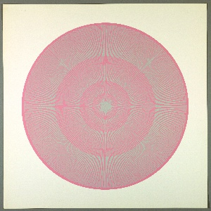 Four graduating concentric circles of radial lines like spokes of a wheel; pink background overprinted in putty on white ground.