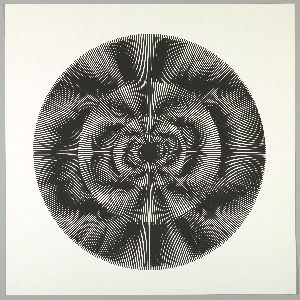 Four graduating concentric circles of radial lines like spokes of a wheel; black overprinted in black on white ground.