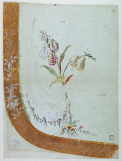 "A plant of Persian flowers and a garland of naturalistic flowers. Brown border strip with a row of plants. Parts of the garland and of the strip are upon a piece of paper pasted over a discarded suggestion. Numbered twice, in ink ""866"", one off the figures being preceded by ""V (?) o""."