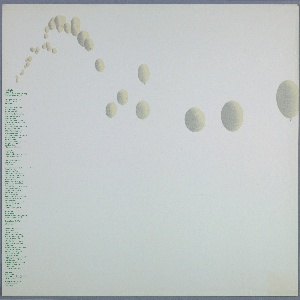 """Row of pale-colored balloons floating across light colored poster. Text in a column in green on left: Hans Haacke / Hayden Gallery / Massachusetts Institute of Technology / October 24-November 26, 1967 / Opening October 24, 7-9 pm / Artists will be present / Refreshments / Make something which reacts / to its environment, / changes, is non-stable. / Make something indeterminate, / which always looks different, the / shape of which cannot be / predicted precisely. / Make something which cannot / """"perform"""" without the assistance of / its environment. / Make something which reacts to light / and temperature changes, / is subject to air currents, and / depends, in its functioning, / on the forces of gravity. / Make something which the """"spectator"""" / handles, with which he plays, / and thus animates. / Make something which lives in time / and makes the """"spectator"""" / experience time. / Articulate something natural. / Text repeated; below: Hans Haacke / Hayden Gallery / Massachusetts Institute of Technology / October 24-November 26, 1967 / Opening October 24, 7-9 pm / Artists will be present / Refreshments"""