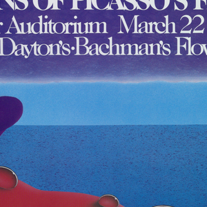 In white text over purple: THE GARDENS OF PICASSO'S FRANCE / 8th Floor Auditorium March 22 to April 5 / Dayton's-Bachman's Flower Show. View of a landscape from the vantage point of inside a red blossom with water droplets. In the distance water and the moon with its reflection.