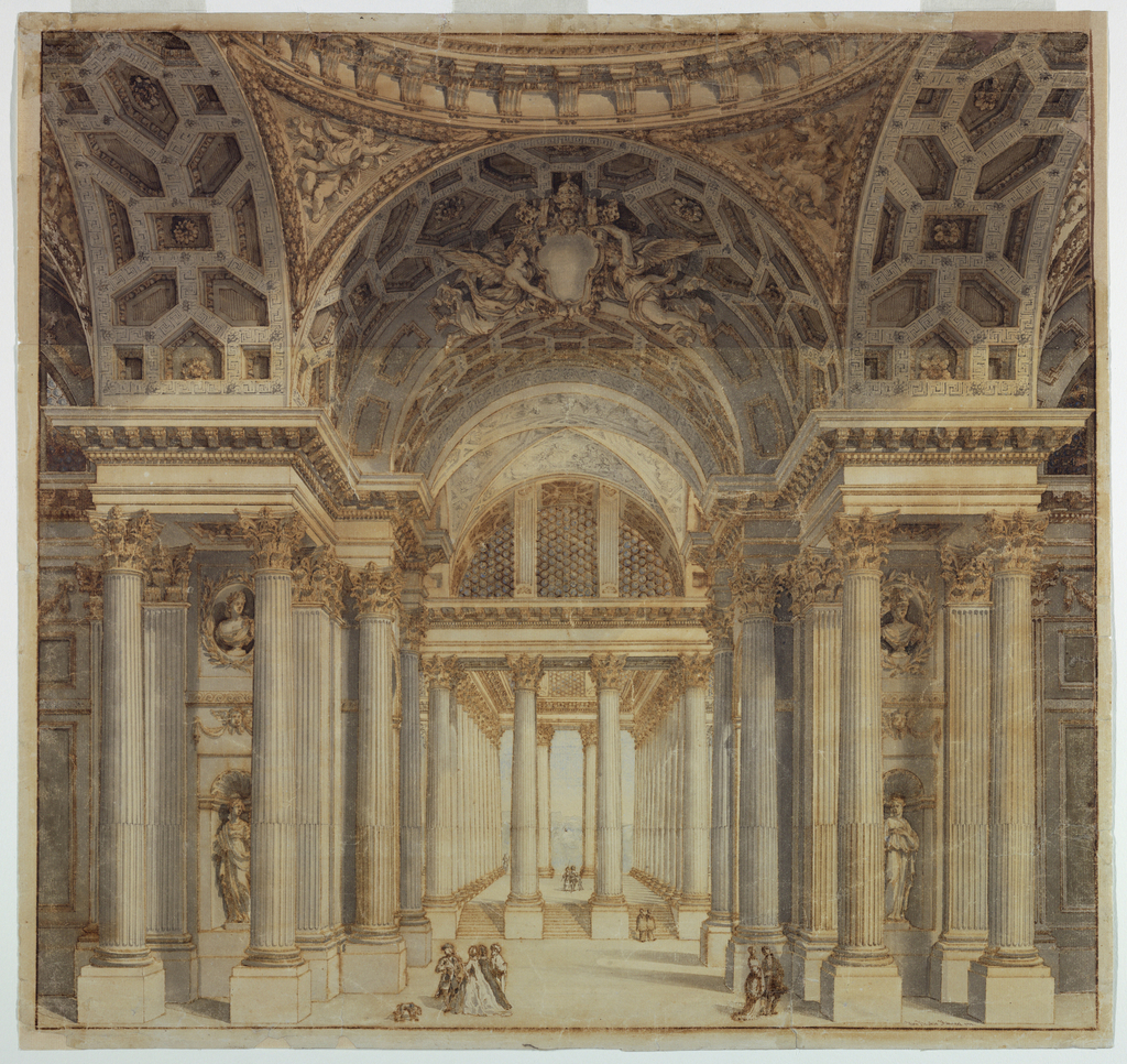 Drawing, Stage Design, Interior of Papal Palace, 1777