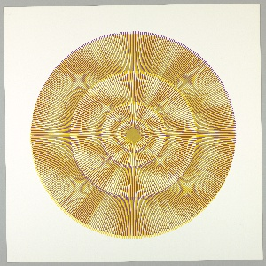 Four graduating concentric circles of radial lines like spokes of a wheel; yellow, overprinted in purple on white ground.