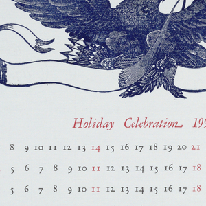 On a cream ground, a blue printed eagle with ribbon in its mouth; below, in red ink: Holiday Celebration 1990; each month is printed in red ink and the numbers in black with holidays in red. Lower margin, in black: Hall of Printing & Graphic Arts [floral icon] National Museum of American History [floral icon] Smithsonian Institution [floral icon].