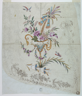 Two flying birds. A row of cones forms an inner frame, floral motifs and ribbons the outer frame.