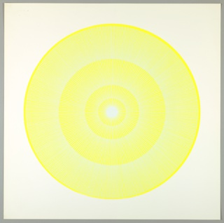 Four graduating concentric circles of radial lines like spokes of a wheel; yellow background overprinted in blue-white on white ground.