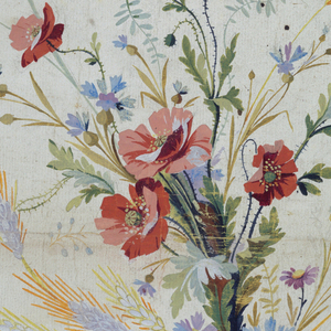 Vertical rectangle.  A bunch composed of poppies and other blossoms and ears of grain is shown in the wedge.  Plants of poppies and cornflowers alternate among the hem, small plants grow in the intervals.  A row of beads and a ribbon form the hem.  Reverse:  rough sketch of the bunch of flowers.