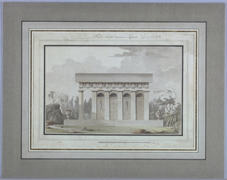 A side of a building with five Doric pilasters, portico, and one Doric column.  A Doric frieze contains metopes of masks and vases. At right and left corners of the base supporting the building are two urns, each entwined by a snake.  At left, a tree grows on a boulder near a path; at right - an abundance of trees and foliage. Czar Paul I (r. 1796-1801) was assassinated in March 1801.  His widow, the Empress Maria Feodorovna, commissioned this mausoleum from Thomas de Thomon, a French architect working in St. Petersburg between 1799 and 1813.  The building still stands today on the grounds of Pavlovsk Palace.
