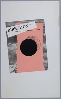 Overlapping rectangles, made to look like collage or scraps of paper. The bottom piece is black and white photograph of clouds, on top of that is a peach-colored piece and then a black circle over a circular diagrammatic world map. The title is on a white area in black ink: DIRECTION 15 cents / october 1939, vol. 2 no.6 art, fiction, documentary material.