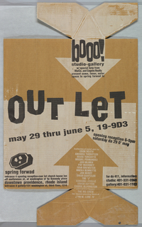 Rectangular poster with projected arrows. In black text: OUTLET; Above: booo! / studio-gallery; may 29 thru june, 19-9D3