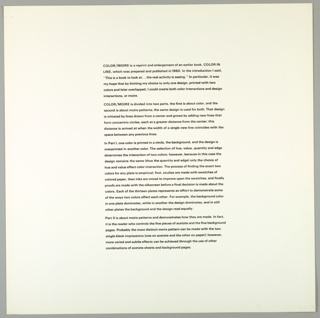 "Introductory text page to portfolio fills center column of sheet.Text explains that the portfolio in question is a reprint of ""Color in Line"" published in 1960 and states the artist's objective: ""to create both color interactions and design interactions, or 'moire,' by using one design in two colors, later overlapped."""