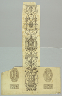 Design for a grotesque on an irregular sheet. At center, a tall vertical component featuring a large design for a grotesque. Two satyrs at bottom support the structure, above which is a group of caryatids with linked arms. Design filled with figures of putti, herms, and animals including monkeys, dragons, winged horses, peacocks, and winged bulls among others. At lower left and right, figural groups.