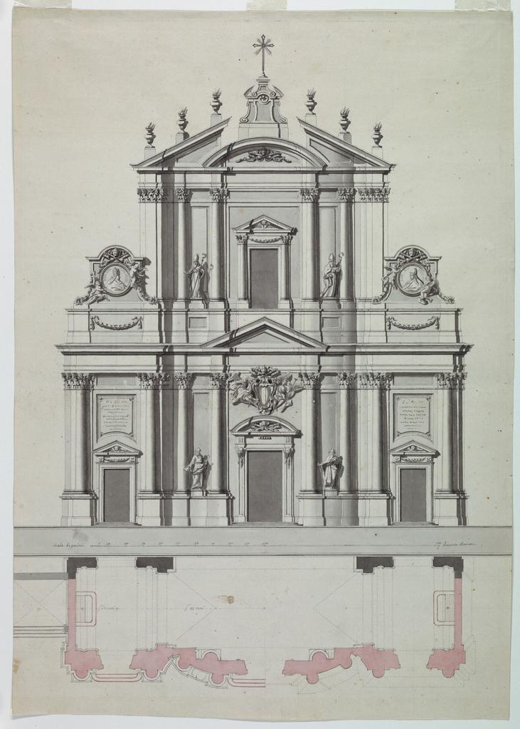 Drawing, Facade of Church, Plan of, 1757–58