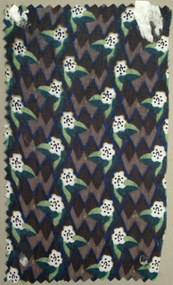 Small-scale all-over floral; white flowers with black centers, light green leaves, mauve, dark brown and blue in zigzag pattern in background.
