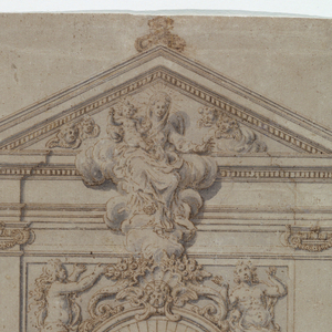 Vertical format architectural drawing. Two stories, the lower one with pilasters of Doric order, the upper one with pilasters of Ionic order. The door frame shows a broken pediment with an escutcheon in the center, with a winged skull on top. Laterally are niches showing statues of DEATH in front of trophies, the left one referring to worldly power, the right one to ecclesiastical dignitaries. In the central panel of the upper storey is a circular window. In the lower wedges are represented souls in Purgatory, in the upper ones two Blessed ascending to Heaven. Figure of St. Michael stands upon the Devil, recumbent, upon the entablature of the lower story. In the lateral panels are windows, with volutes below, in front. On top is a triangular pediment. In its front and in that of the entablature is the Virgin with the Child, sitting upon clouds. The base of the Cross is shown above.