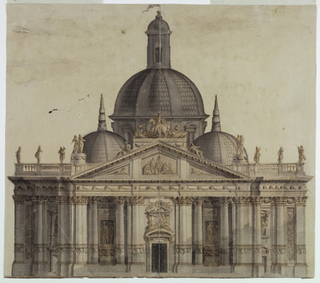 Architectural elevation of a large domed church, with smaller flanking domes and a heavily sculptured façade composed of a portico, with engaged and free-stranding columns, and surmounted by statuary. Three portals are approached by steps.