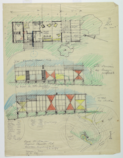 Top, plan; below, two elevations, with typical geometrical decorations.  House shown on stilts, on slopping ground.