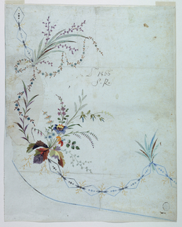 Bunches of flowers and of leaves rise from the framing which is formed by a chain of lozenges. Over its central part at left is pasted a piece of paper suggesting a frame formed by a leaf bough and a garland. A line along the hem.