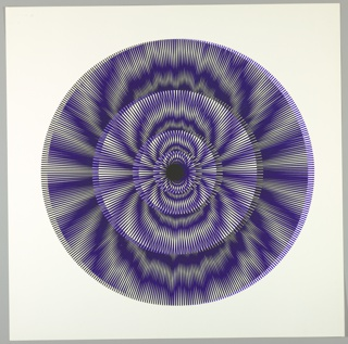 Four graduating concentric circles of radial lines like spokes of a wheel; blue overprinted in black on white ground.