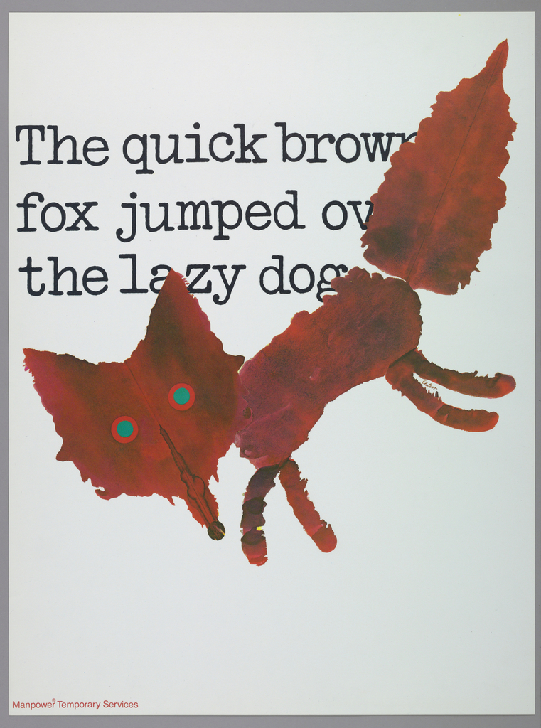On a white ground, a red fox in painterly style with black printed typewriter text: The quick brown / fox jumped ov / the lazy dog