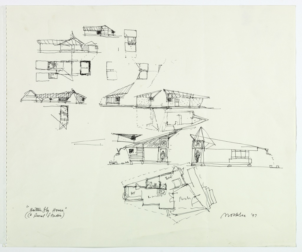 Fourteen different sketches showing plans, sections, and elevations of house.  Reading from lower part of sheet:  a full plan of house with v-shaped porch, living room, kitchen, bedroom and bathroom; two section views of house showing roof line:  view into bedroom with door and fan in transum above; view from kitchen into bedroom with door and fan in transum.; four sections of rooms and walls showing sloping roof line; three drawings of plans including bathroom; two sections showing sloping roof line and bathroom.