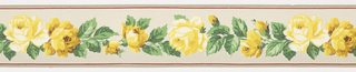 Vining floral/leaf pattern in yellow/green between red/gray stripes on gray ground. Duro Wall Border.