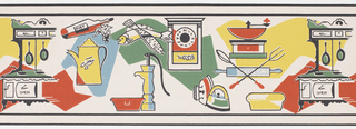 Contains assortment of household items and sundries, including fish, coffeepot, clock, stove, with some of the objects placed over large blocks of color. Printed in red, mustard, blue and green on white ground.