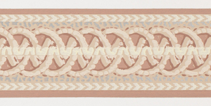 Central interwoven circular motifs in pink with off-white/silver markings on pink ground. Matching ready-pasted border.