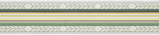 Green, yellow, brown central banding with foliage and floral band on either side with pale green stripes on ends on gray-green ground. Matching ready-pasted border.