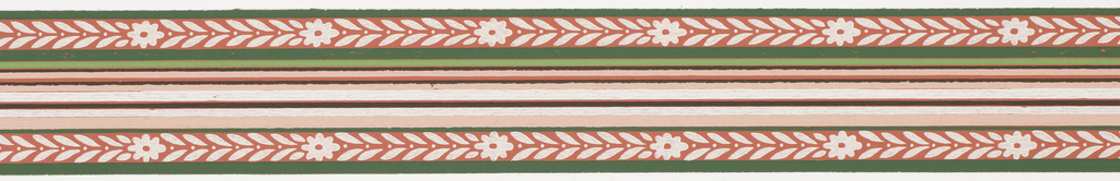 Pink, black and green central banding with foliage and floral band on either side with green stripes on ends on pink ground. Matching ready-pasted border