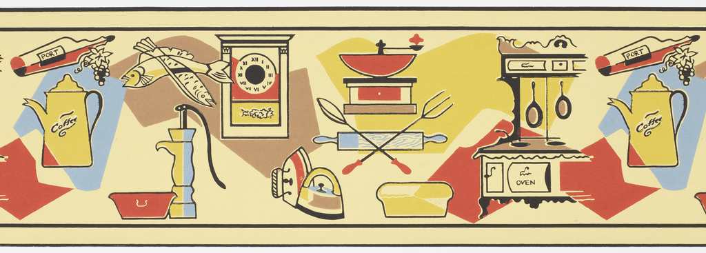 Wide border featuring various household items and sundries, including fish, coffee pot, water pump, iron. Printed in red, blue, mustard, brown on light yellow ground. Narrow black band at top and bottom edge.